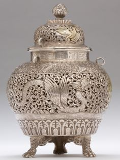 Censer, parcel-gilt silver repousse, Tibet, late 19th century. Collection of Julian Sands.