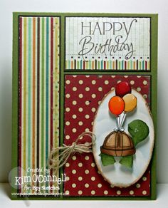 """Whimsie Doodles """"Birthday Turtle"""" digital stamp and Verve Stamps """"Happy Birthday"""" sentiment"""