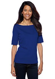 Kim Rogers® Petite Boat Neck Top with Cuffed Elbow Sleeves
