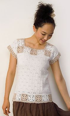 Ravelry: 29-14 Tee with granny square trim pattern by Pierrot (Gosyo Co., Ltd)