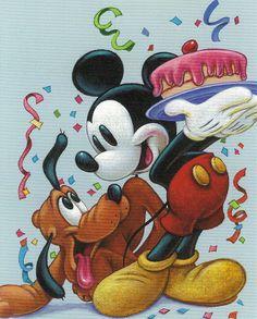 Mickey and Pluto- A Celebration with Friends by Walt Disney Disney Dream, Disney Love, Disney Magic, Disney Style, Disney Cartoons, Disney Pixar, Disney Characters, Mickey Mouse And Friends, Mickey Minnie Mouse