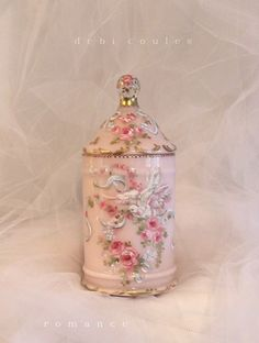 Romantic French Roses and Dove Vintage Dresser Jar by Debi Coules - Debi Coules Romantic Art