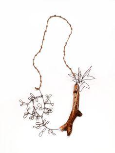 """Anne M. Fiala  - """"Keeping My Regrets"""" - Necklace; 2011, Wood, Steel, Twine, Paint"""