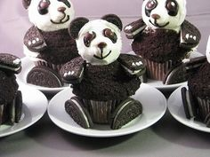 Panda bear cupcakes with Oreo biscuits