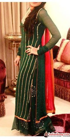 Eid-Dresses-Collection-Green2013-2014-for-Girls-IndianRamp.com_