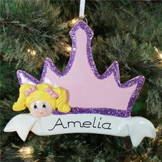 #Personalized Blonde Hair #Princess #Crown #Christmas #Ornament