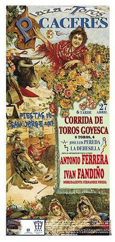 Cartel corrida goyesca de Cáceres, mano a mano Ferrera y Fandiño