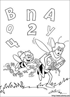 Maya Bee Coloring pages for kids. Bee Coloring Pages, Online Coloring Pages, Cartoon Coloring Pages, Printable Coloring Pages, Coloring Books, Creations, Drawings, Pictures, Quiet Books