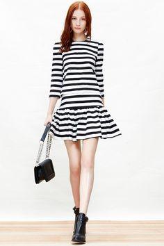 Monochrome Stripes Top + Skirt Set