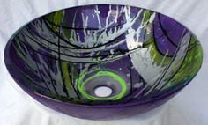 Purple Lilac Silver and Yellow Hand Painted Bathroom Glass Vessel Sink Basin 94