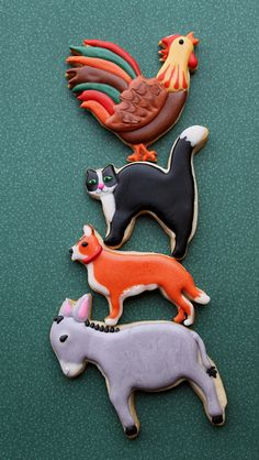 Animal Cookies: Town Musicians of Bremen Fancy Cookies, Iced Cookies, Cute Cookies, Royal Icing Cookies, Cupcake Cookies, Sugar Cookies, Cut Out Cookies, Frosted Cookies, Cupcakes