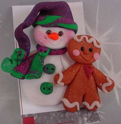 *POLYMER CLAY ~ Christmas Pin / Brooch Snowman Gingerbread Stocking Hat.