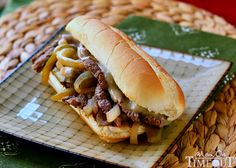 Slow Cooker Philly Cheesesteaks are so easy to make any night of the week!   MomOnTimeout.com