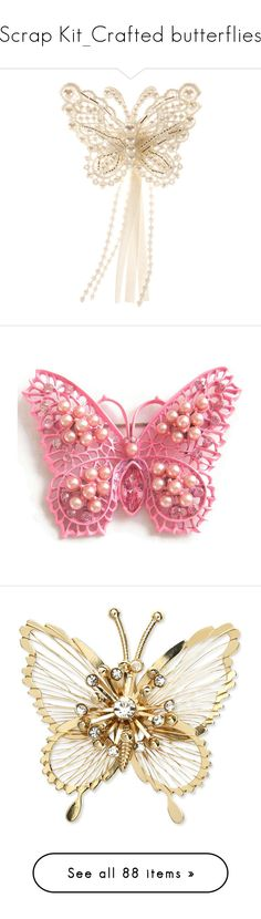 """Scrap Kit_Crafted butterflies"" by auntiehelen ❤ liked on Polyvore featuring accessories, hair accessories, jewelry, brooches, hair, butterfly hair accessories, crochet hair accessories, pearl hair accessories, beaded hair accessories and vintage broach"