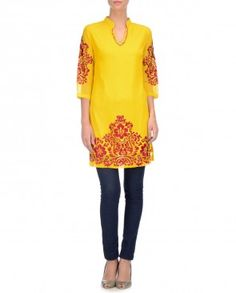 Poppy Yellow Tunic with Embroidery