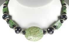 Triple Gemstone Necklace-Green Turquoise by TheNakedNeckandEar