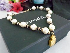 """Authentic Chanel Faux Pearl Necklace w/Rhinestones and a Goldtone Chanel No 5 Pendant. 16"""" Comes in Black Chanel Box w/ White Ribbon. by CCCsVintageJewelry on Etsy"""