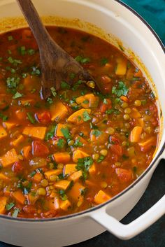 Moroccan Sweet Potato and Lentil Soup | Cooking Classy