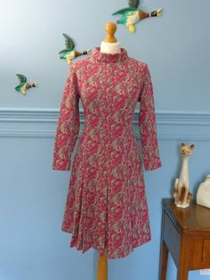 Vintage 60s Floral Paisley Mid-Winter Dress size large | eBay