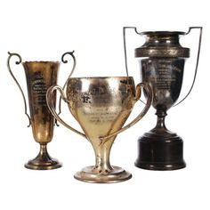 Antique Trophies on Dibs - love using these old trophies grouped together. Vases, Old Trophies, Trophy Cup, Masculine Interior, Colleen Hoover, Beautiful Home Designs, Victorian Design, Tea Service, Shades Of Black