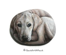 Labrador dog hand painted with Acrylics on stone!