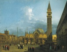 Canaletto (Venice 1697-Venice 1768), Piazza San Marco looking East towards the Basilica and the Campanile, c.1723–4,  part of a set of six views of Venice. Oil on canvas, RCIN 405934, Royal Collection Trust/ © Her Majesty Queen Elizabeth II 2016