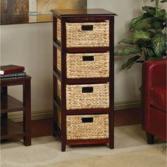 Seabrook Basket Storage Espresso Tower with Four Braided Removable Straw-grass Bins - Overstock™ Shopping - Great Deals on Office Star Products Bathroom Shelving