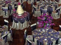 Purple floor length linen with linen napkins at each place settingGrey Organza wedding table linen overlays  sashes and decor get  . Purple Tablecloths For Wedding. Home Design Ideas