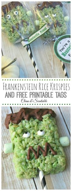 Cute Frankenstein Rice Krispie Pops with Free Printable. // http://cleanandscentsible.com