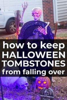 If you've ever had trouble keeping your Halloween gravestones from blowing over, this DIY Halloween hack is for you! Learn how to keep your Halloween tombstones in the ground so they don't fall down and wreck the look of your Halloween cemetery. Halloween Projects, Halloween House, Spooky Halloween, Halloween Ideas, Halloween Halloween, Halloween Pumpkins, Halloween Signs, Tombstones For Halloween, Halloween Makeup