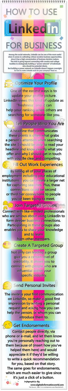 LinkedIn is an essential tool for the B2B marketers who want to invest in social media and find new customers. This infographic aims to assist you in your first step to creating your LinkedIn page that can benefit your business and also describes best practices to find new prospects, engage in conversation and retain your audience.  http://www.digitalinformationworld.com/2013/05/how-to-use-linkedin-for-business.html  #Socialmedia #business #linkedin #howto