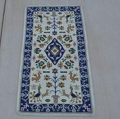 70x140cm Handmade Wool Portuguese Needlepoint Ivory Area Rug 2119