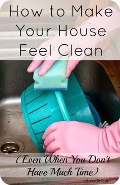 Cleaning my house is no fun. But I am loving these tips to make it FEEL clean. totally agree with Going to start doing this today. Frugal Living Tips Cleaning Recipes, House Cleaning Tips, Diy Cleaning Products, Cleaning Solutions, Spring Cleaning, Cleaning Hacks, Cleaning Supplies, Cleaning Schedules, Cleaning Services