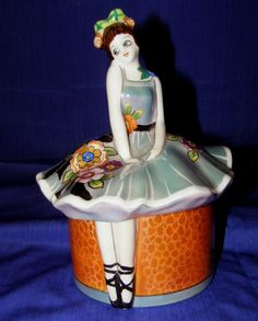 Vintage Noritake Handpainted Ballerina Powder Trinket Box Art Deco Unique N/R