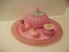 Beautiful Old Vintage Avon Pink Satin Vanity Perfume Powder Tray Dresser Set