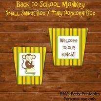 Back to School Monkey - TINY POPCORN BOX ------------------------------------------------------ WHAT'S INCLUDED WITH PURCHASE ------------------------------------------------------ PDF file with  - 1 printable popcorn box. Print box, cut and fold, and glue on the areas indicated.  * PLEAS...