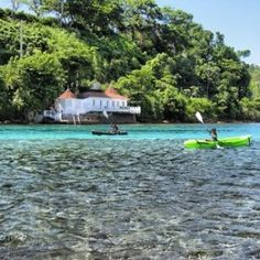 Ocean sea kayaking near the Blue Lagoon in Port Antonio, Jamaica. This place is awesome! Come see why. Contact www.scubadivejamaica.com today!