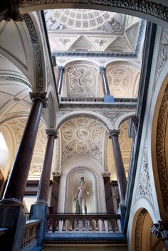 The columns of the gallery stairs Caligula in the Museum of Rome Rome Buildings, Romanesque, Fresco, Stairs, Gallery, Travel, Bellisima, Mosaics, Period