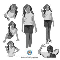 A set of middle school kids, round about grade 5.  Set of boy and girl... 13 illustrations in color and grey scale.  Boy and girl in following poses:  1. Boy/girl standing straight up. 2. Boy/girl showing/pointing at something... can be on board. 3. Boy/girl sitting on floor as in playing games. 4. Boy/girl laying on floor as in reading or playing games. 5. Boy/girl sitting together on floor playing games. 6. Boy/girl writing.  Color and grey scale set.  Different style, more illustrative.