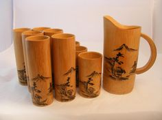 1950s Vintage Asian Bamboo Wood Bar Ware Drink Set  by Covenants
