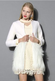 - Faux fur embellished - Ivory color - Round neckline - Hooks closure - Lined - Polyester - Dry clean Size (cm) Length Bust Waist Shoulder Sleeves XS 80 80 76 32 56 S 80 84 80 34 57 M 80 88 84 36 58 L 80 92 88 38 59 XL 80 96 92 40 60 Size(inch) . Vintage Tops, Unique Fashion, Women's Fashion, Planet Fashion, Petite Fashion, Fashion Women, Beige Faux Fur Coat, Drape Cardigan, Cardigan Sweaters
