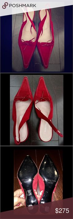 """Andrea Rivalta red suede pointy sling-backs Andrea Rivalta rich red suede pointy toe Slingbacks in European size 40/ US size 10.  This is a generous size 10.  Worn once in the house.  Bow detail, made in Italy.  Low heel- approx 2""""inches. Andrea Rivalta  Shoes Mules & Clogs"""
