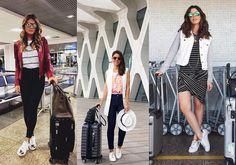 Look do dia: o tênis branco é queridinho das blogueiras pra viajar, né? (da esq. pra dir. Thássia Naves, Camila Coelho e Camila Coutinho)