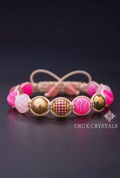 Ibiza, Macrame Bracelet, Pink Agate Shamballa, Stacking Bracelet, Natural Stone Wrap Bracelet, Breast Cancer Bracelet, Gold Shamballa