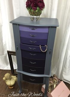 Hand painted furniture and vintage restyling. Hand painted ombre jewelry armoire for all a woman's precious jewels and mementos.