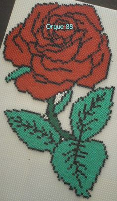 Rose hama  beads by marmorette88130