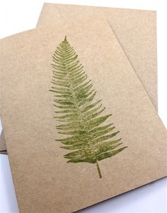 Fern Note Cards Blank Hand Printed Brown by everydaysaholiday