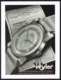 1940's Vintage 1948 Wyler Superior Wrist Watch Mid-Century Modern Art Print Ad. #wyler #vintage #watch #ads #stawc #watches