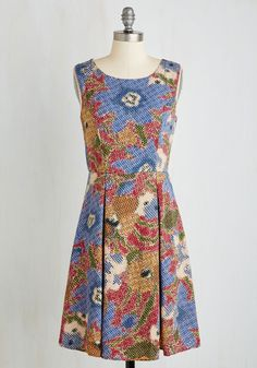 I Rest My Grace Dress in Stippling. Your style has been described in many fabulous ways - classic, timeless, oh-so-elegant - and this floral dress offers posh proof! #multi #modcloth