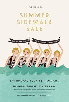 Love the Rifle Paper Summer Sidewalk Sale. Rifle Paper, Graphic Design Posters, Graphic Design Typography, Web Design, Print Design, Email Design Inspiration, Email Marketing Design, Ecommerce, Karten Diy